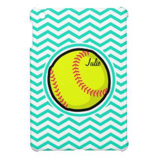 Softball; Aqua Green Chevron iPad Mini Cases