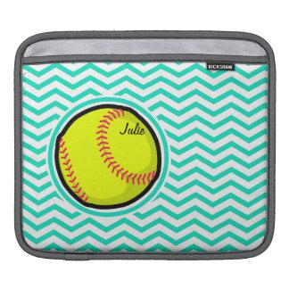 Softball; Aqua Green Chevron iPad Sleeve