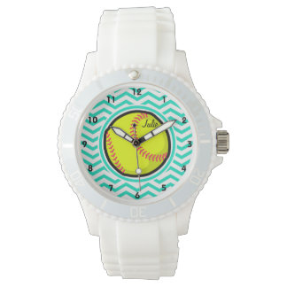 Softball; Aqua Green Chevron Wrist Watch