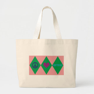 Softball Argyle Large Tote Bag