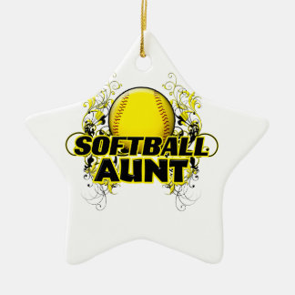 Softball Aunt (cross).png Ceramic Star Decoration