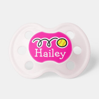 Softball baby girl pacifier | Soother dummy binkie