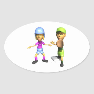 Softball Base Runner Oval Sticker
