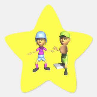 Softball Base Runner Star Sticker