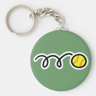 Softball Basic Round Button Key Ring