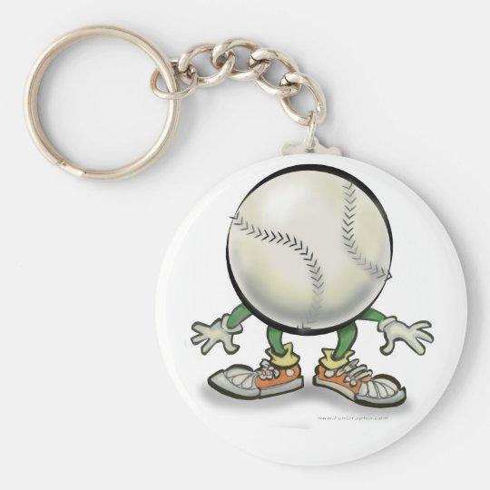 Softball Basic Round Button Key Ring