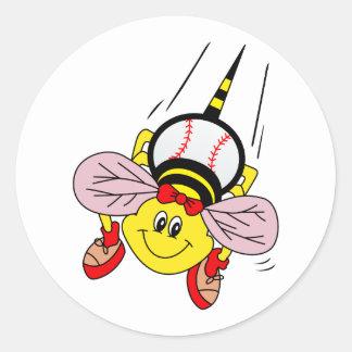 Softball Bee Classic Round Sticker