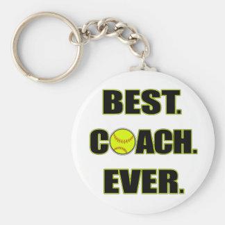 Softball Best Coach Ever Basic Round Button Key Ring