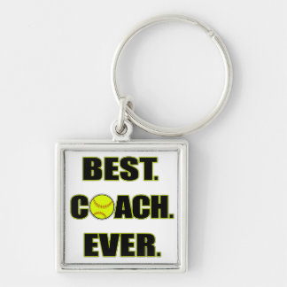 Softball Best Coach Ever Silver-Colored Square Key Ring