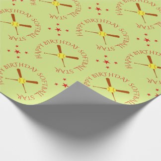 Softball birthday custom text star wrapping paper