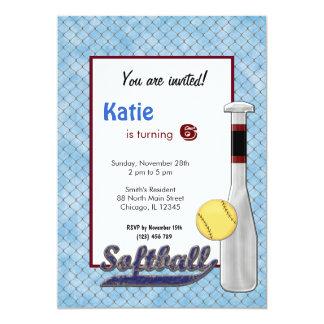 Softball Birthday Invitation