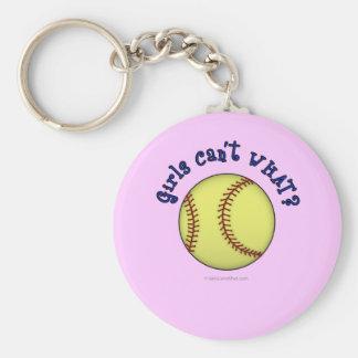 Softball-Blue Basic Round Button Key Ring