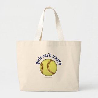 Softball-Blue Large Tote Bag