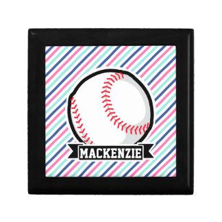Softball; Blue, Pink, & White Stripes, Sports Trinket Boxes
