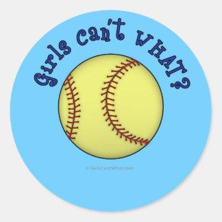 Softball-Blue Round Sticker