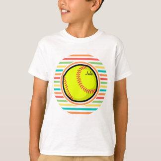 Softball; Bright Rainbow Stripes T-Shirt
