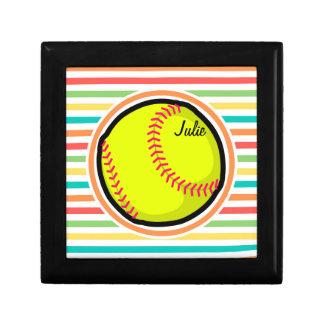 Softball Bright Rainbow Stripes Trinket Box