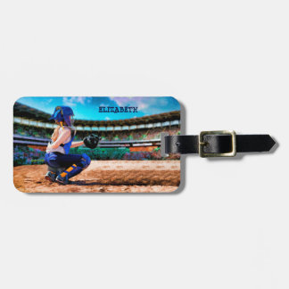 Softball Catcher And Stadium Painting Luggage Tag