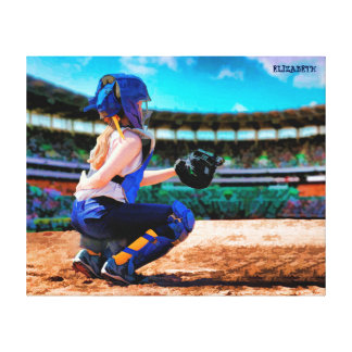 Softball Catcher And Stadium Painting Stretched Canvas Prints