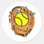 Softball Catcher Classic Round Sticker