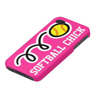 Softball chick iPhone case   Pink phone cover Cover For iPhone 4