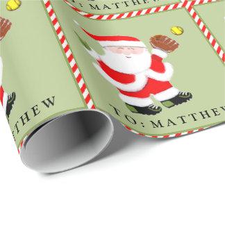 Softball Christmas Wrapping Paper