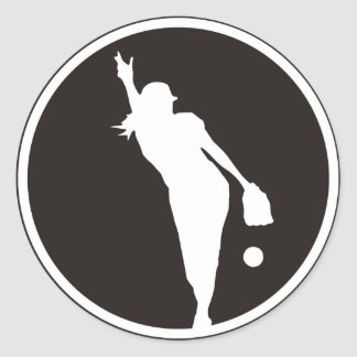 softball Circle Pitcher Classic Round Sticker