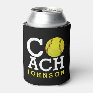 Softball Coach Custom Name Can Cooler