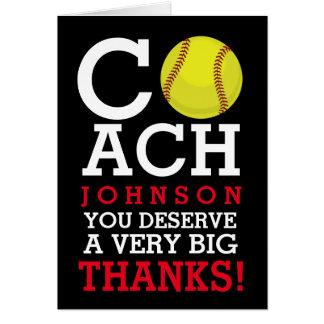 Softball Coach Custom Name Thank You Card