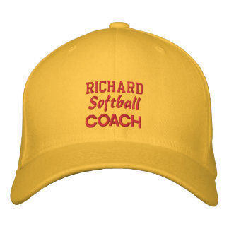 SOFTBALL Coach GOLD Embroidered Hat Custom Name