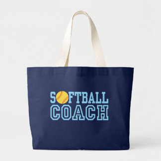 Softball Coach Large Tote Bag