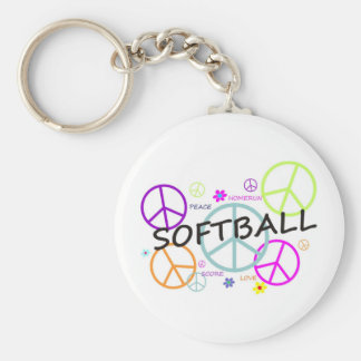 Softball Colored Peace Signs Basic Round Button Key Ring