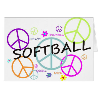 Softball Colored Peace Signs Card