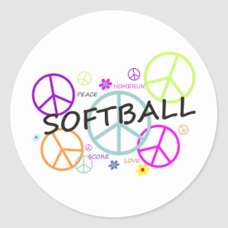 Softball Colored Peace Signs Classic Round Sticker