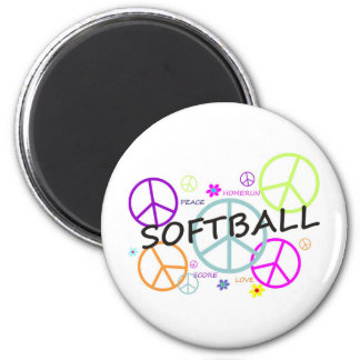 Softball Colored Peace Signs Magnet