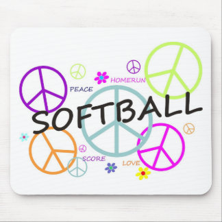 Softball Colored Peace Signs Mouse Pad