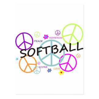Softball Colored Peace Signs Postcard