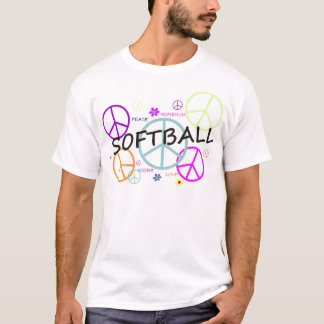 Softball Colored Peace Signs T-Shirt