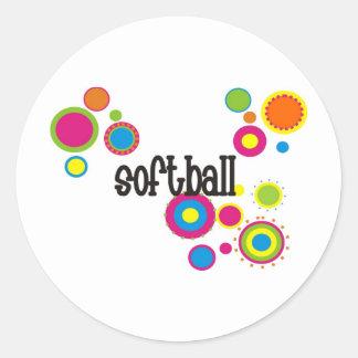 Softball Cool Polka Dots Classic Round Sticker