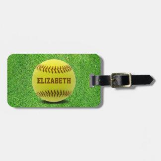 Softball Custom Ball Luggage Tag