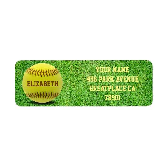 Softball Custom Ball Return Address Label