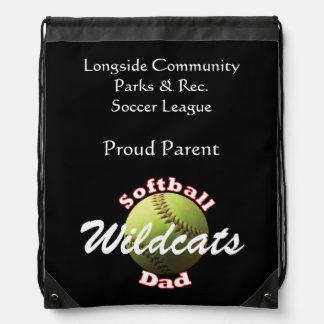 Softball Dad Drawstring Bags