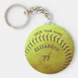 Softball Dirty Name Team Number Ball Keychain