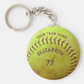 Softball Dirty Name Team Number Ball Keychain