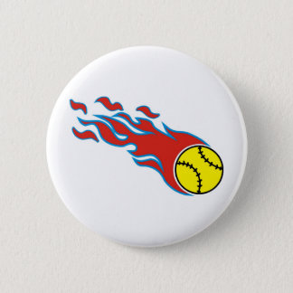 Softball fireball 6 cm round badge