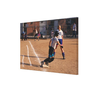 Softball game canvas print