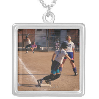 Softball game silver plated necklace