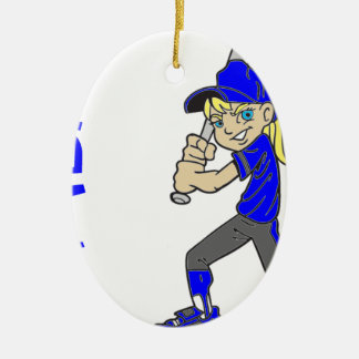 SOFTBALL GIRL BAT CHRISTMAS ORNAMENT