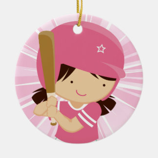 Softball Girl Batter in Pink and White Christmas Ornament