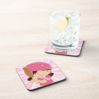 Softball Girl Batter in Pink and White Drink Coasters